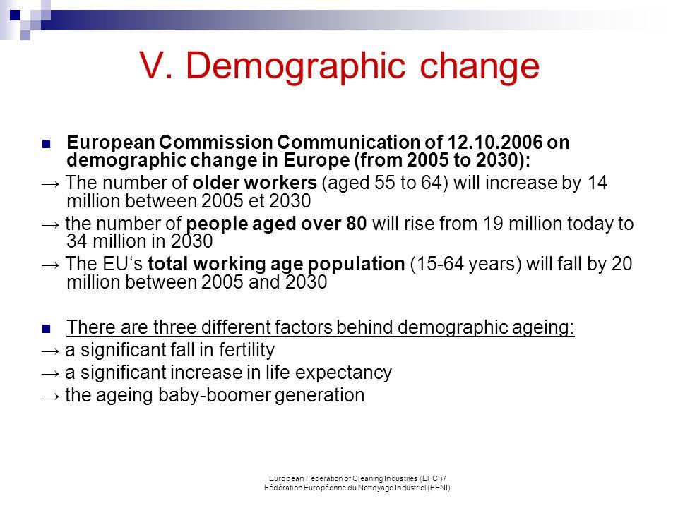 V. Demographic change European Commission Communication of 12.10.2006 on demographic change in Europe (from 2005 to 2030):