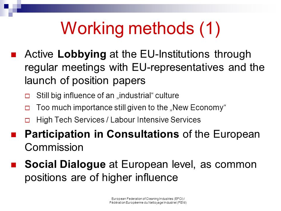 Working methods (1) Active Lobbying at the EU-Institutions through regular meetings with EU-representatives and the launch of position papers.