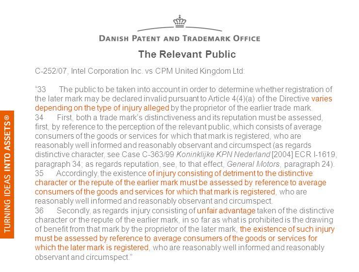 The Relevant Public C-252/07, Intel Corporation Inc. vs CPM United Kingdom Ltd: