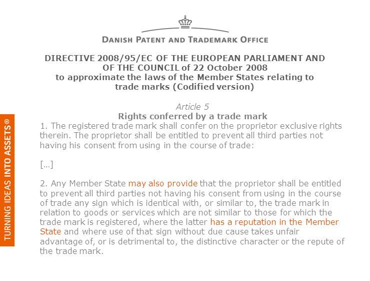 Rights conferred by a trade mark