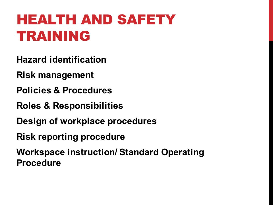 the implementation of policies procedure and legislation on health and safety in the workplace Workplace health & safety (whs) policy reflects our ensure effective implementation of workplace health and safety occupational health and safety act.