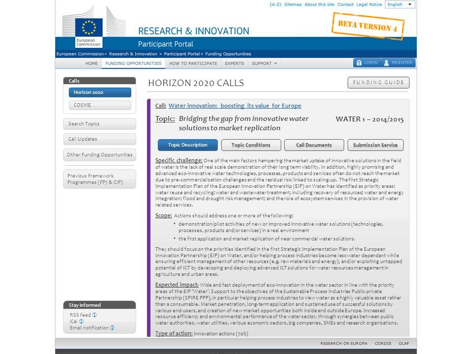 Horizon 2020 calls – Topic details: topic description