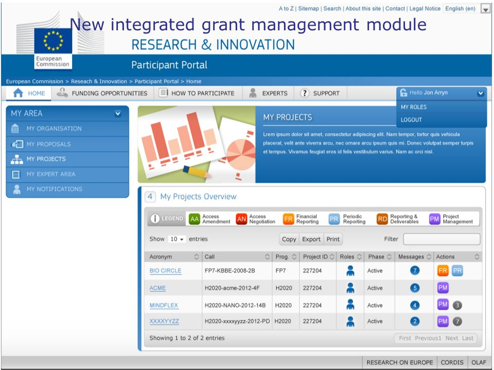 New integrated grant management module