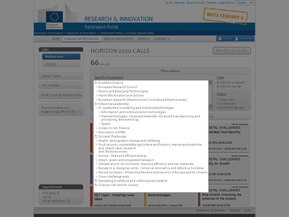Horizon 2020 calls – Full tree structure