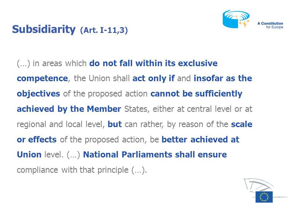 Subsidiarity (Art. I-11,3)