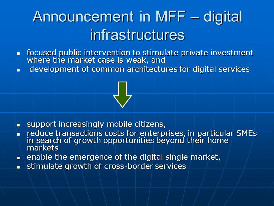Announcement in MFF – digital infrastructures