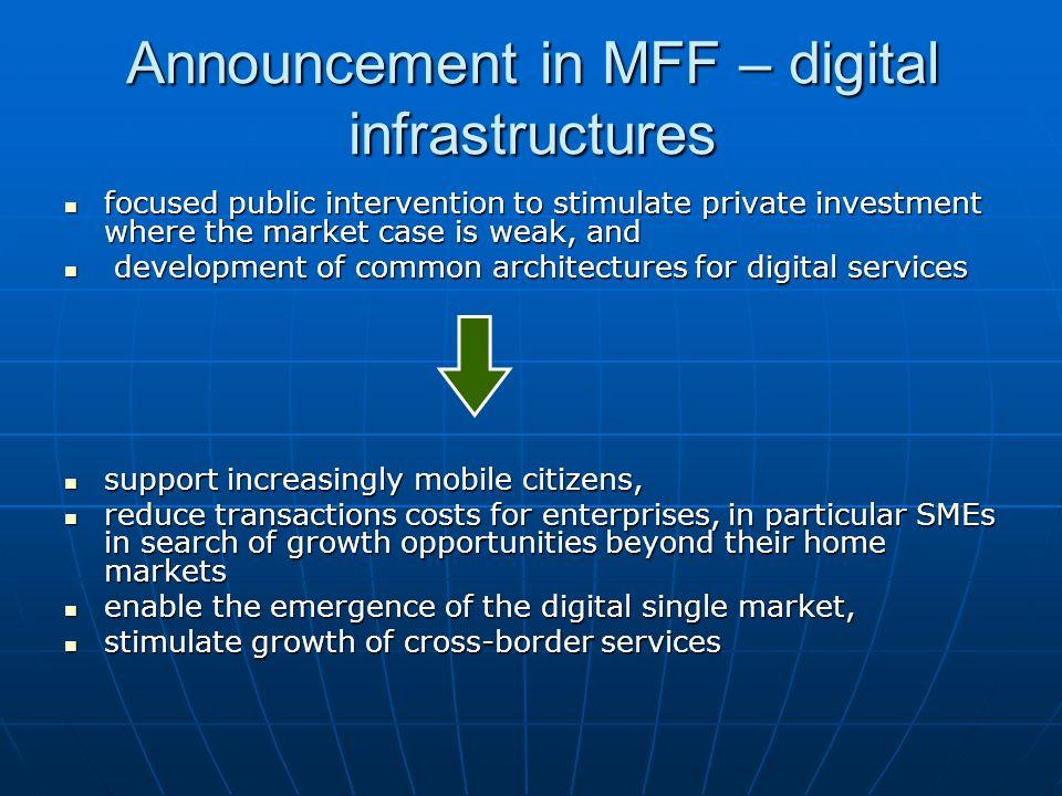 Announcement in MFF – digital infrastructures
