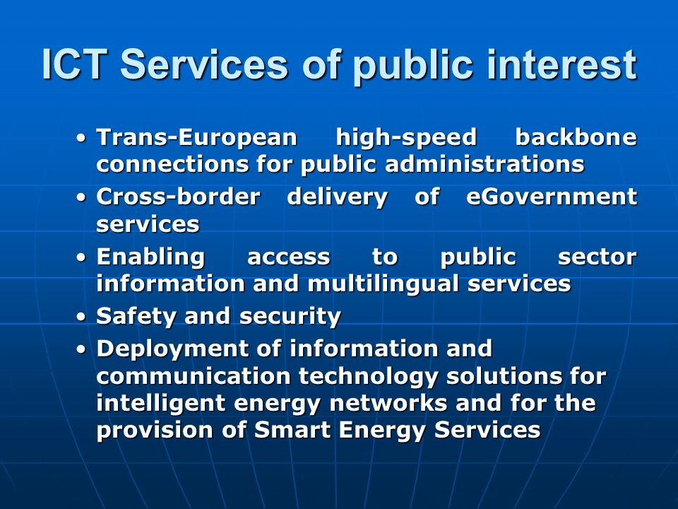 ICT Services of public interest