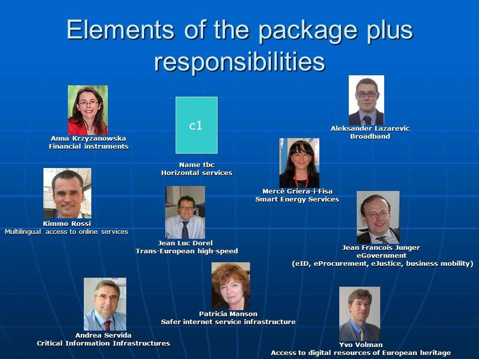 Elements of the package plus responsibilities
