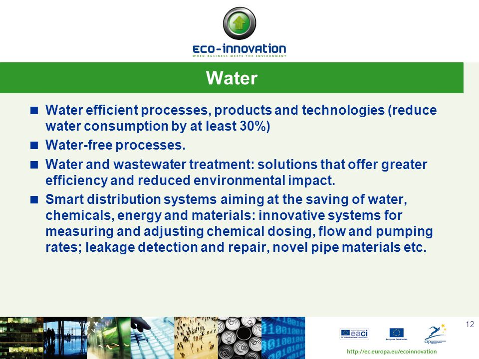 Water Water efficient processes, products and technologies (reduce water consumption by at least 30%)