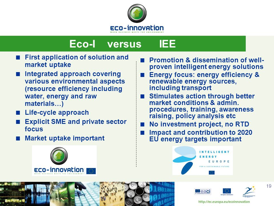 Eco-I versus IEE First application of solution and market uptake