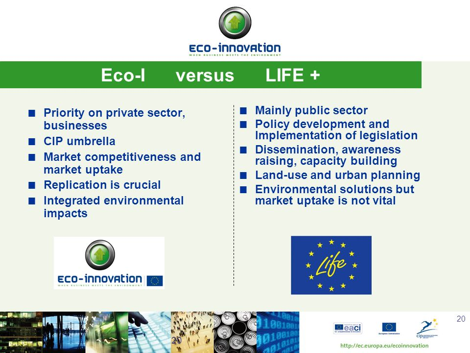 Eco-I versus LIFE + Mainly public sector