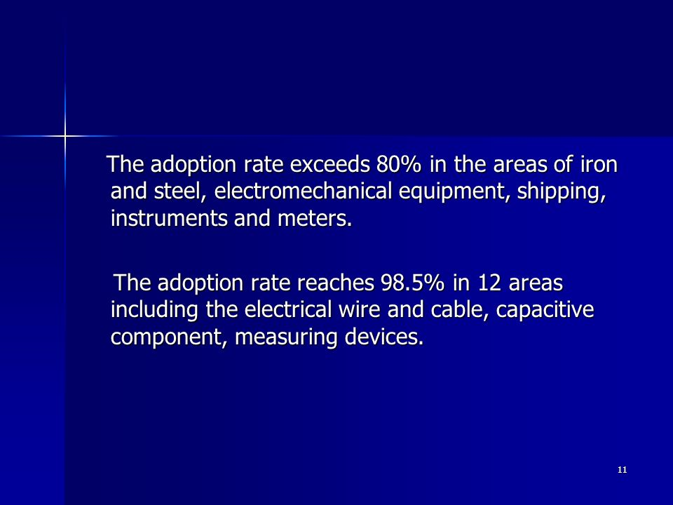 The adoption rate exceeds 80% in the areas of iron and steel, electromechanical equipment, shipping, instruments and meters.