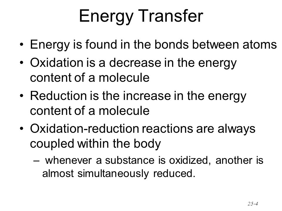 Energy Transfer Energy is found in the bonds between atoms