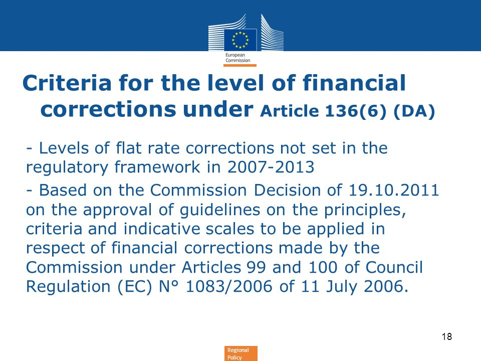 Criteria for the level of financial corrections under Article 136(6) (DA)