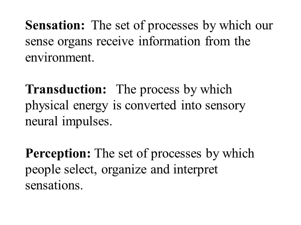 Sensation: The set of processes by which our sense organs receive information from the environment.