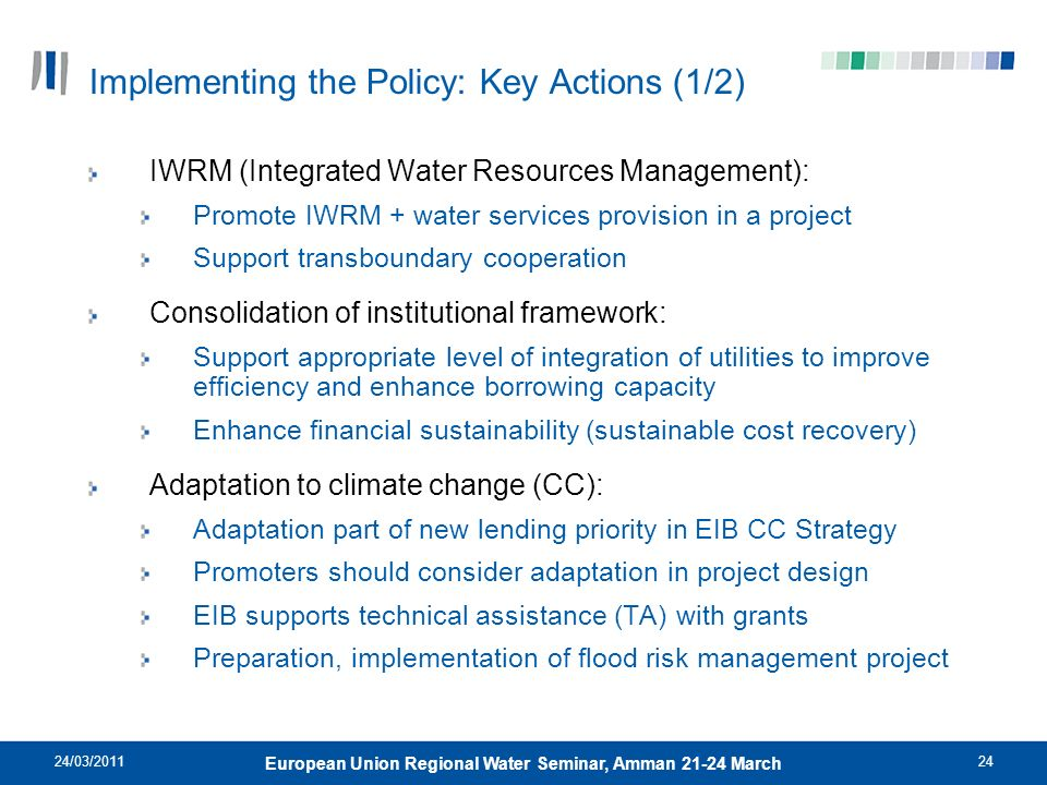 Implementing the Policy: Key Actions (1/2)