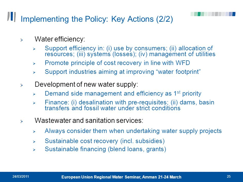 Implementing the Policy: Key Actions (2/2)