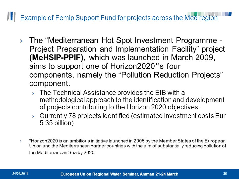Example of Femip Support Fund for projects across the Med region