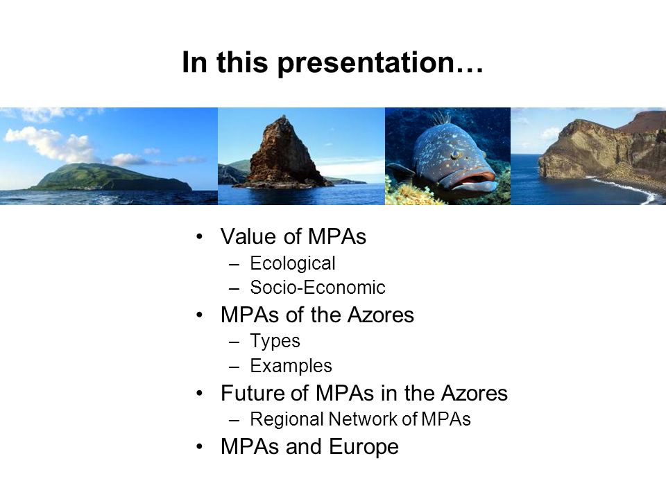 In this presentation… Value of MPAs MPAs of the Azores