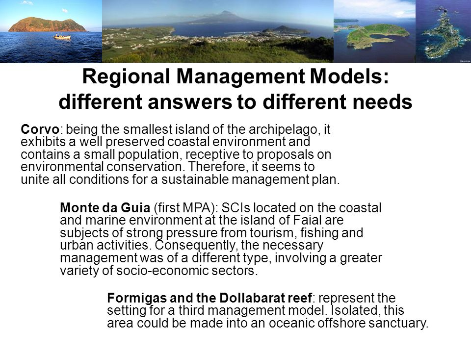 Regional Management Models: different answers to different needs
