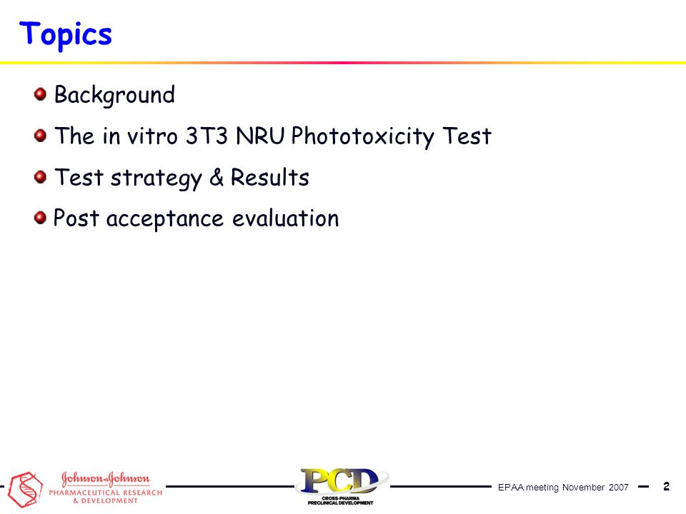 Topics Background The in vitro 3T3 NRU Phototoxicity Test