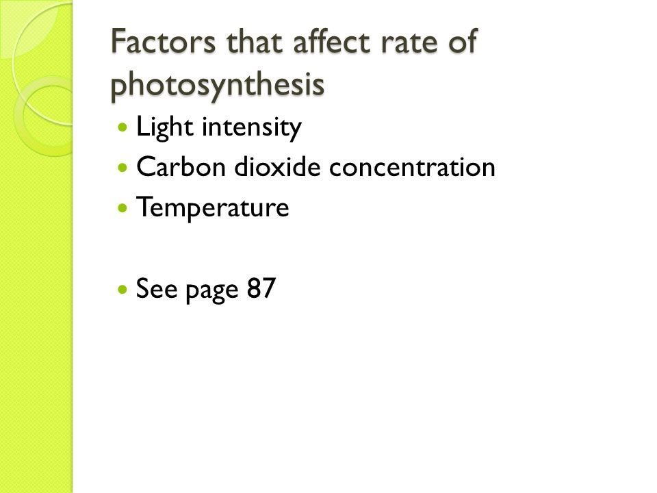 What are the Factors that affect Photosynthesis