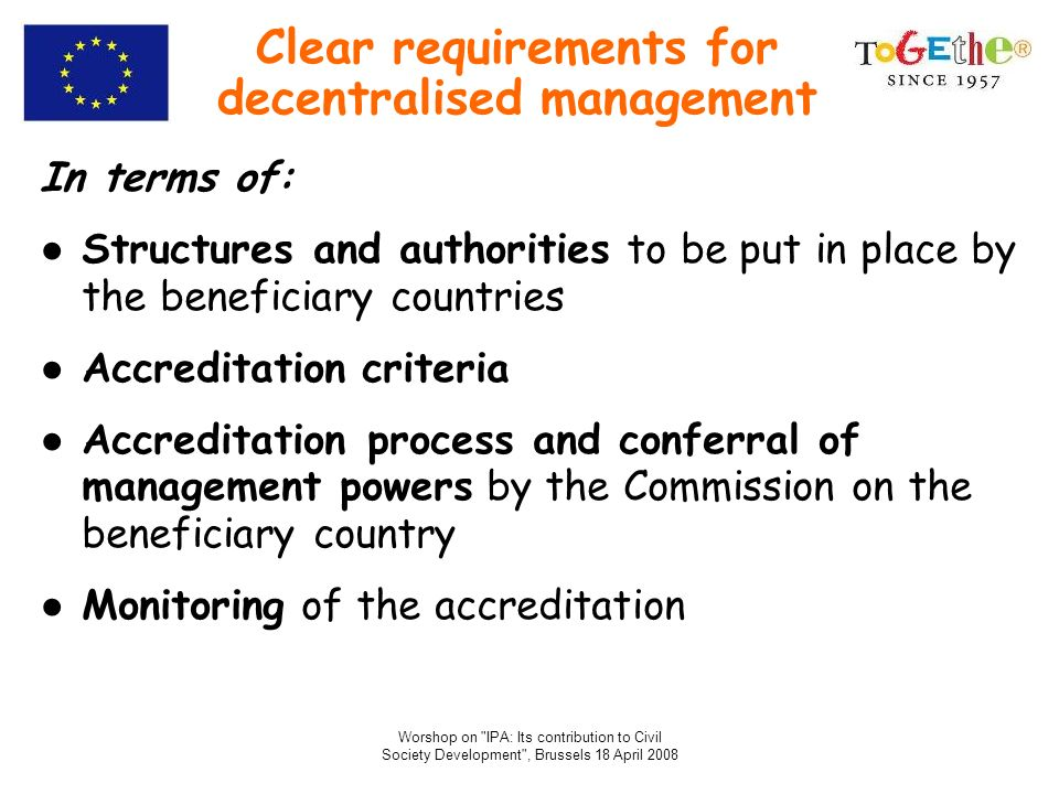 Clear requirements for decentralised management