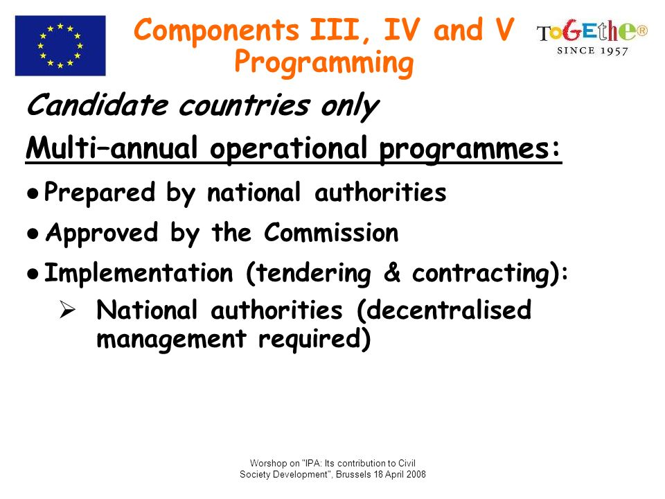 Components III, IV and V Programming