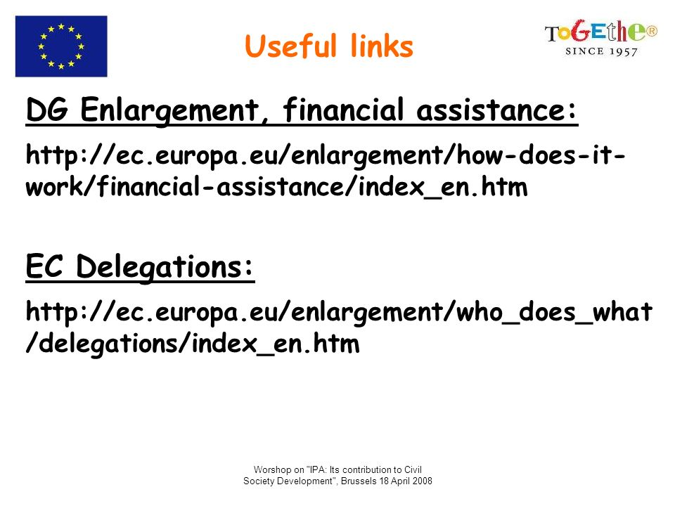 DG Enlargement, financial assistance: