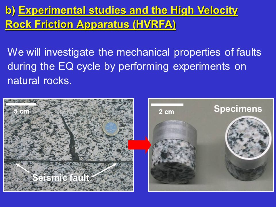 b) Experimental studies and the High Velocity Rock Friction Apparatus (HVRFA)