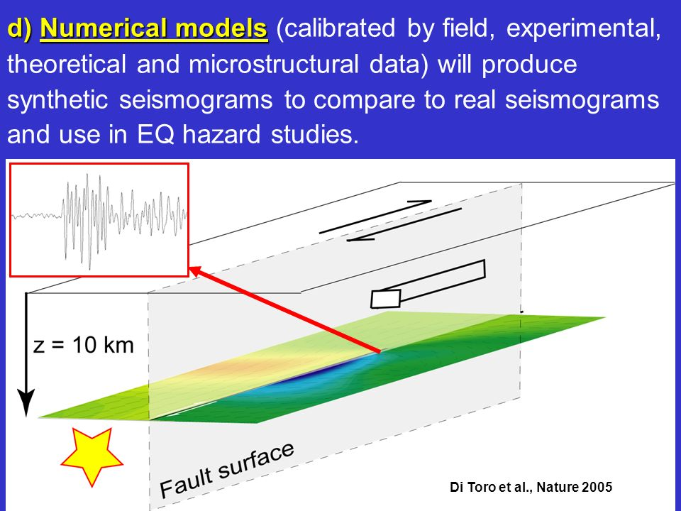 d) Numerical models (calibrated by field, experimental, theoretical and microstructural data) will produce synthetic seismograms to compare to real seismograms and use in EQ hazard studies.