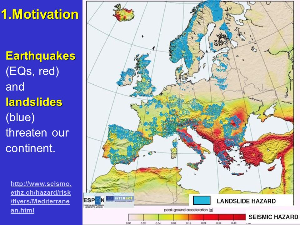 1.Motivation Earthquakes (EQs, red) and landslides (blue) threaten our continent.
