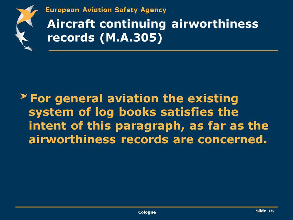 Aircraft continuing airworthiness records (M.A.305)