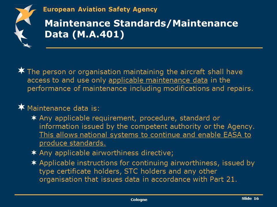 Maintenance Standards/Maintenance Data (M.A.401)