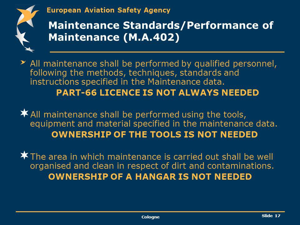 Maintenance Standards/Performance of Maintenance (M.A.402)