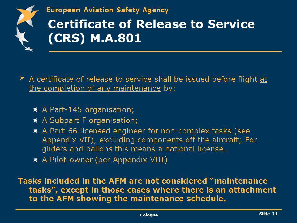 Certificate of Release to Service (CRS) M.A.801