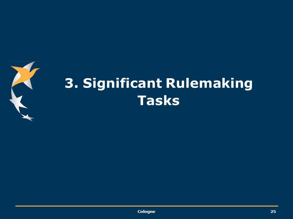 3. Significant Rulemaking Tasks