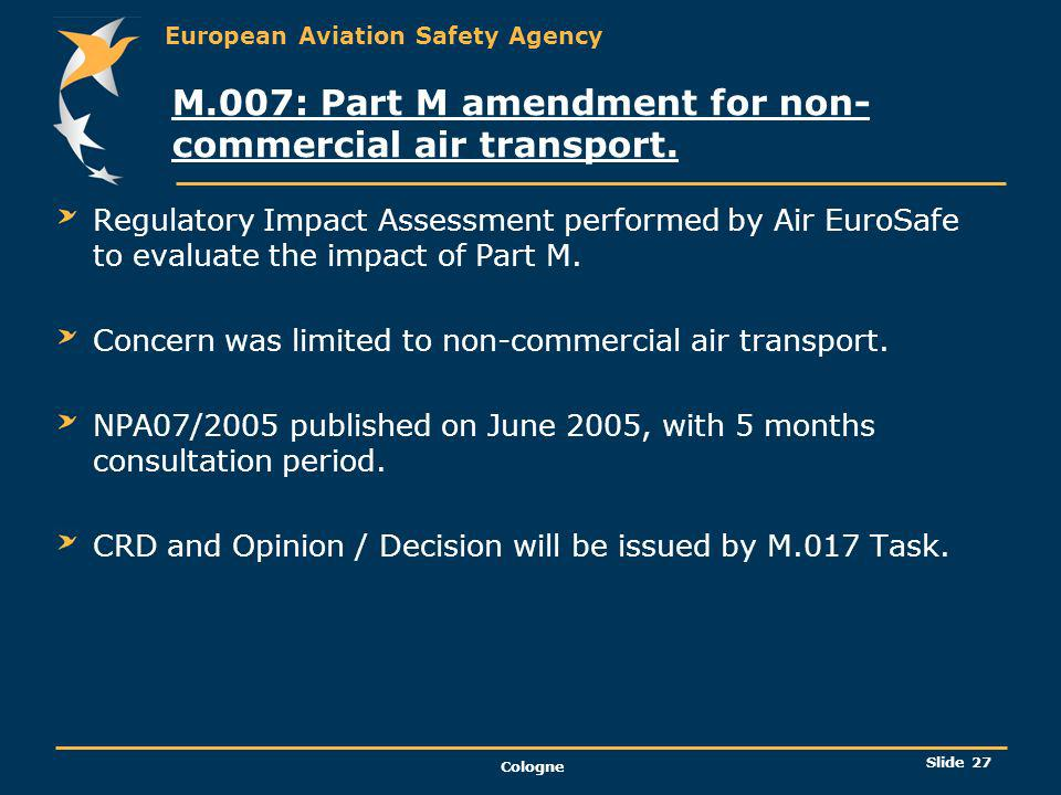 M.007: Part M amendment for non-commercial air transport.