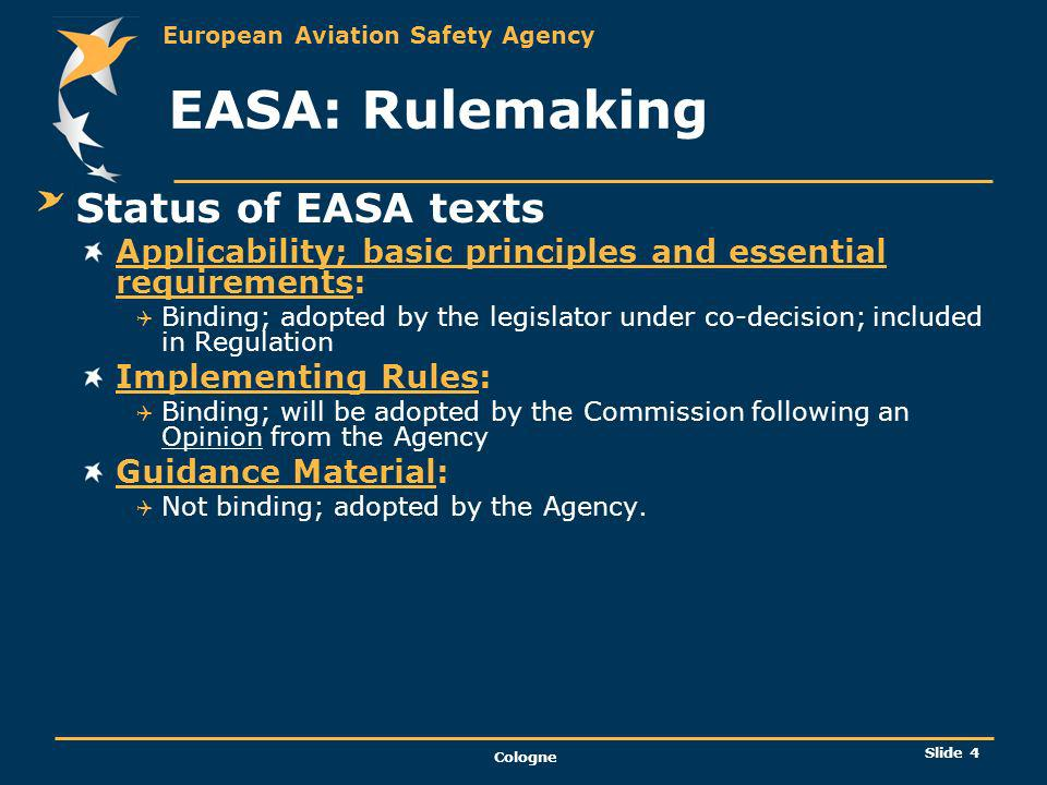 EASA: Rulemaking Status of EASA texts
