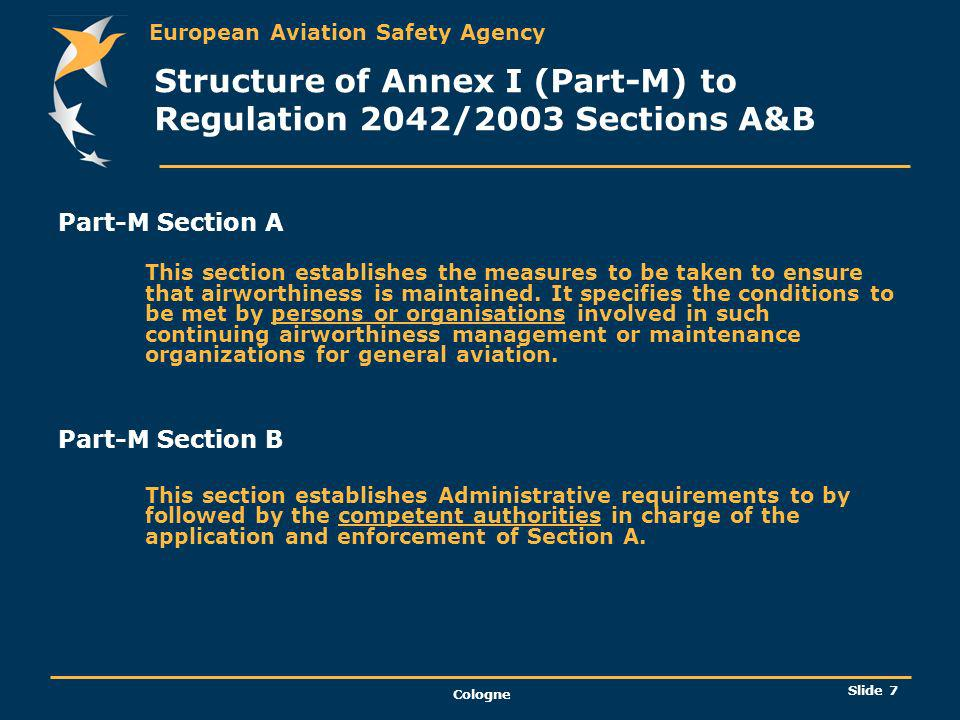 Structure of Annex I (Part-M) to Regulation 2042/2003 Sections A&B