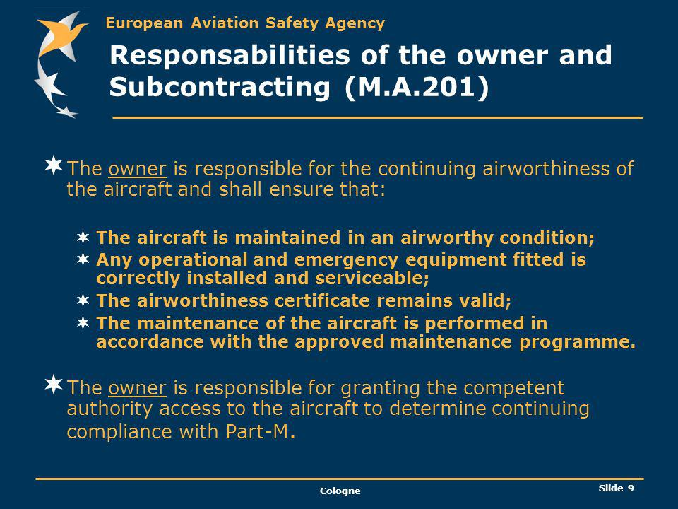 Responsabilities of the owner and Subcontracting (M.A.201)
