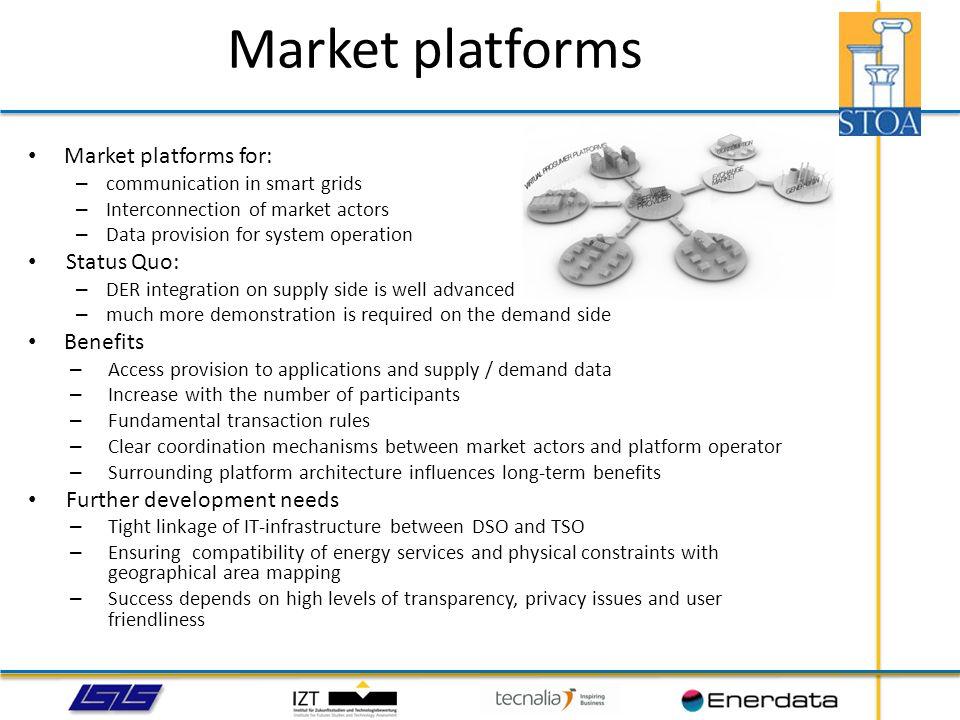 Market platforms Market platforms for: Status Quo: Benefits