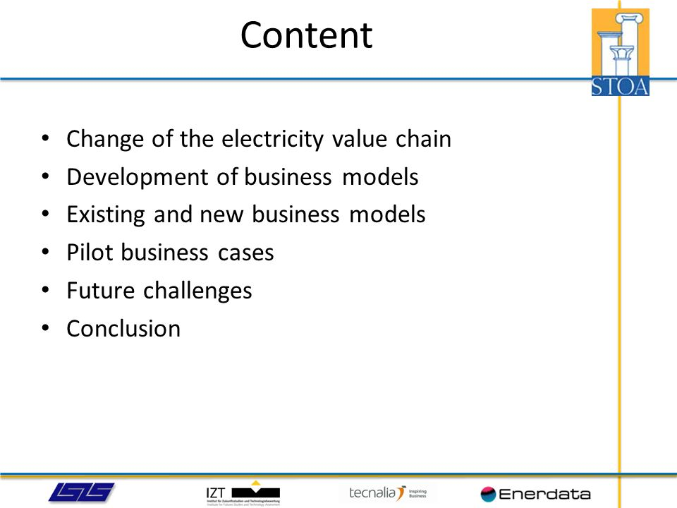 Content Change of the electricity value chain