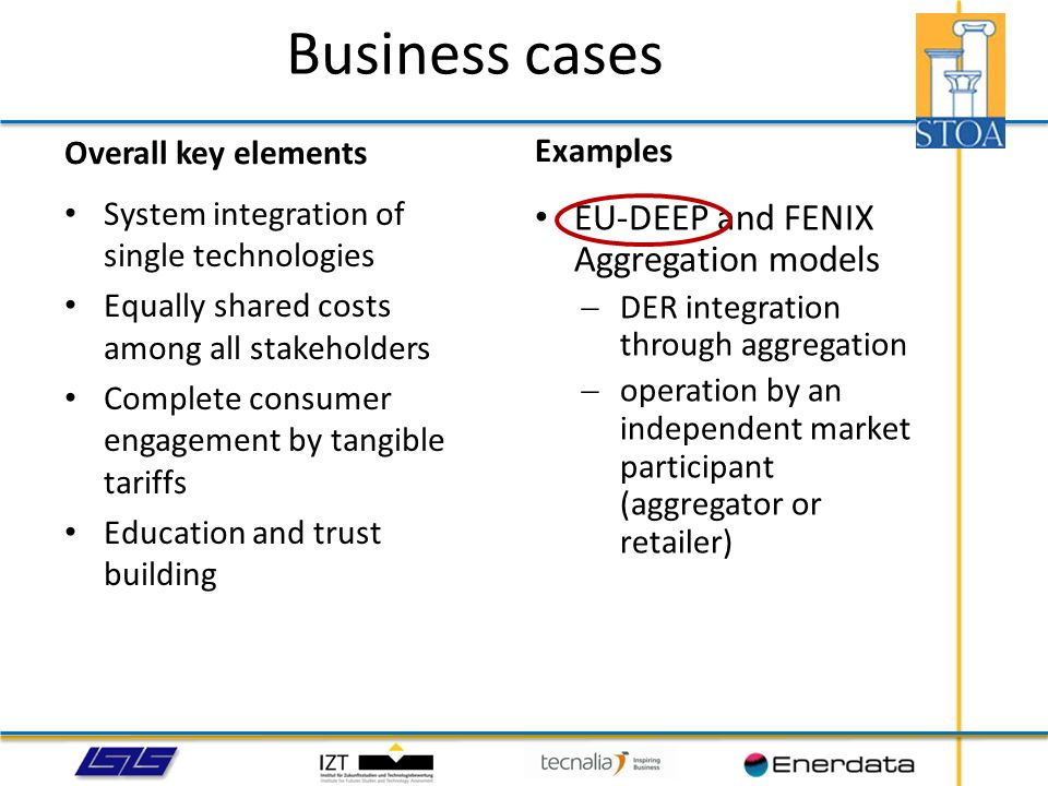 Business cases EU-DEEP and FENIX Aggregation models