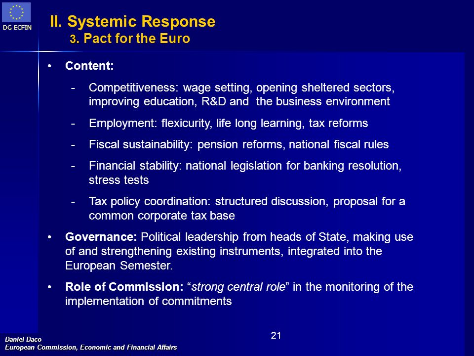 II. Systemic Response 3. Pact for the Euro