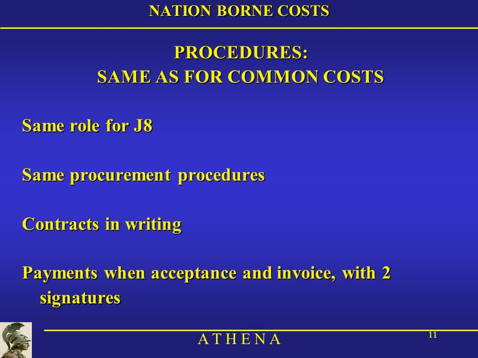 SAME AS FOR COMMON COSTS