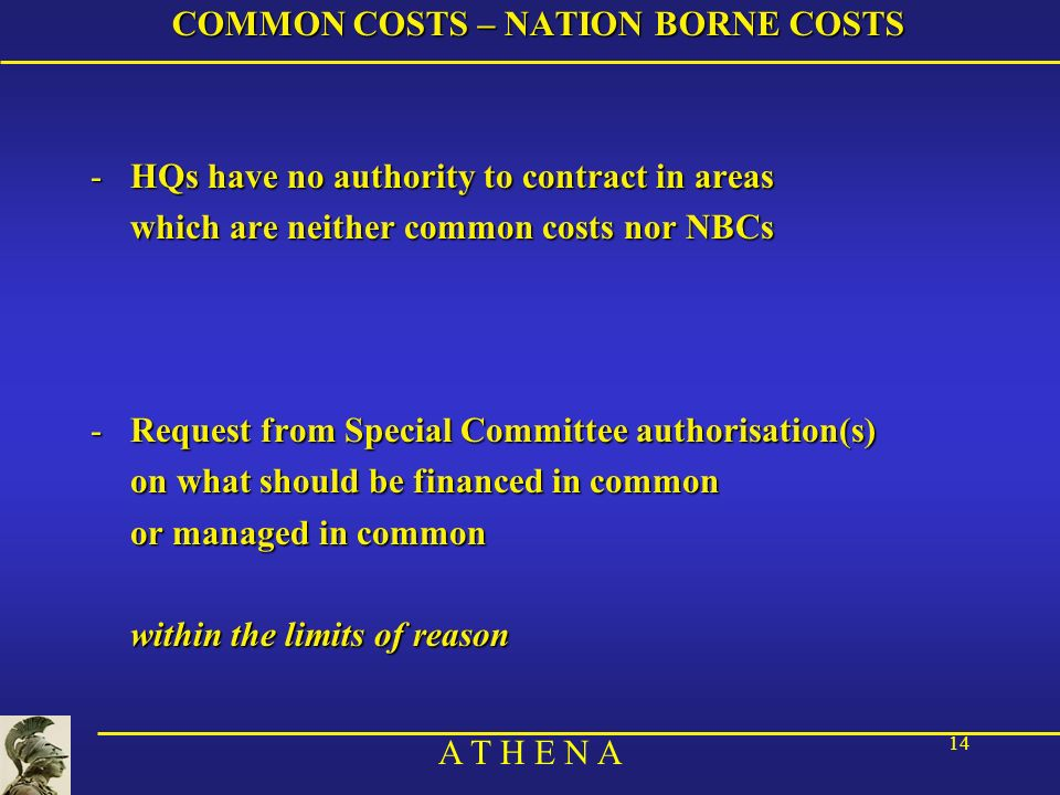 COMMON COSTS – NATION BORNE COSTS