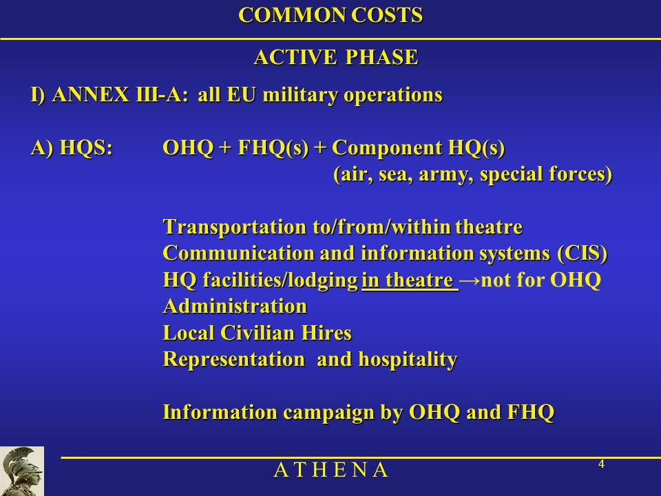 COMMON COSTS ACTIVE PHASE. I) ANNEX III-A: all EU military operations. A) HQS: OHQ + FHQ(s) + Component HQ(s)