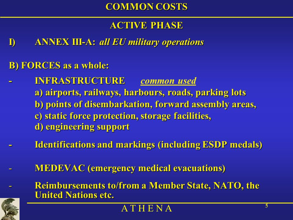 COMMON COSTS ACTIVE PHASE. ANNEX III-A: all EU military operations. B) FORCES as a whole: - INFRASTRUCTURE common used.